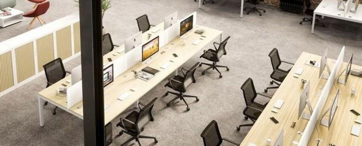 Bench Desk Narrow Buro Four Person