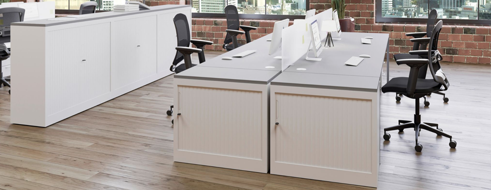 Office Storage Ideas For an Organised Workplace Blog Image - Tambour Units
