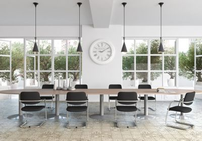 Source-dinspiration-tables-modulaires-pieds-tulipe-avec-extension-decor-imitation-chene-fil-aluminium