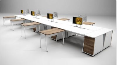 Modern 8 Person Office Bench System, Complete With Pedestals And Returns