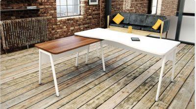 Modern Corner Office Desk In A Rustic Backdrop