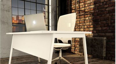 Modern White Office Desk With Matching Modesty Panel With White Task Chair And A City Backdrop
