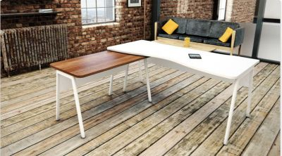 Modern Corner Office Desk In A Rustic Backdrop