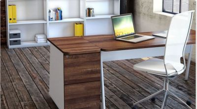Rectangular Office Desk With Two Drawer Desk Height Pedestal And White Bookcases