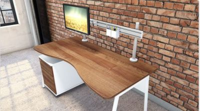 Fashionable Rectangular Office Desk With Two Drawer Mobile Pedestal In A Walnut Finish