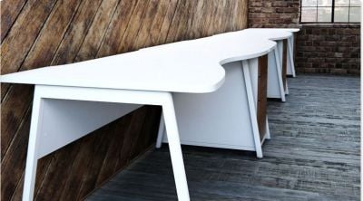 Modern Double Wave Desk In An All White Finish With Three Drawer Walnut Pedestals