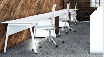 Stunning White Rectangular Desk And Three Drawer Pedestals, Complete With Modern White Task Chairs
