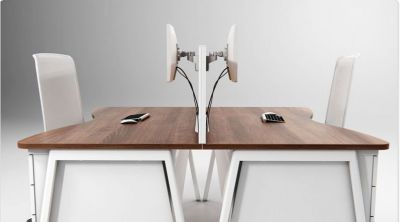 Double Wave Desk Bench System In A Walnut Finish With A White A Frame