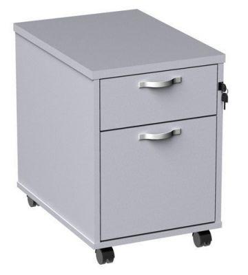 White Two Drawer Mobile Pedestal