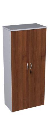 Walnut And White Medium Height Cupboard