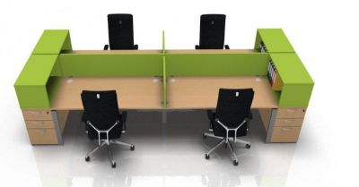 Astro Four Person Bench Desk With Tops Boxes
