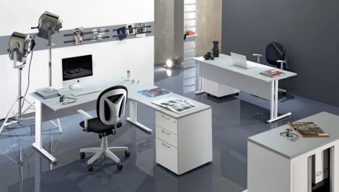 OPtimize White Rectangular And Corner Desk