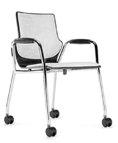 Converse Mobile Conference Chairs With Upholstered Seat And Back And Closed Arms