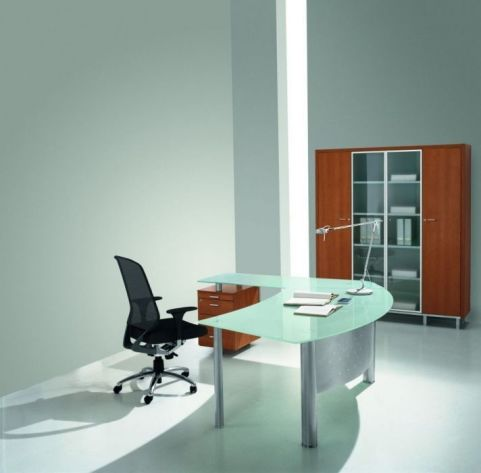 XT Next Executive Glass Office Desk With A Integral Metal Modesty Panel And Glass Desk Return