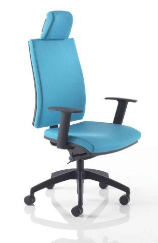 Omega Task Chair With Headrest Blue Fabric