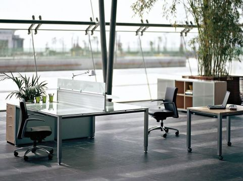 Modern Vital Glass Bench System With Screens And Black Leather Task Chairs