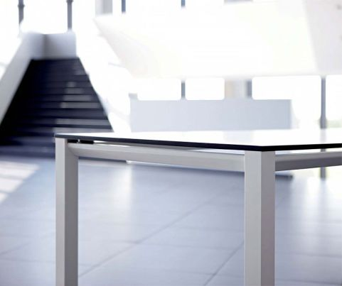 Modern Vital Office Desk With A Black Glass Top And A Thick Silver Steel Frame