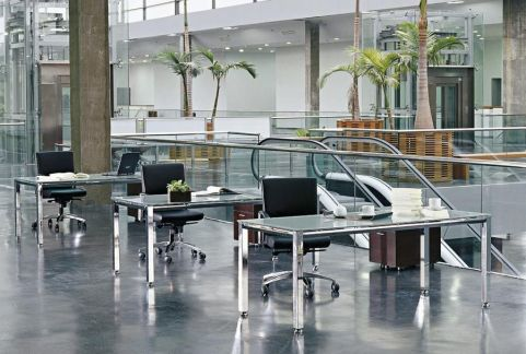 Striking Office Space Using Vital Glass Furniture Range
