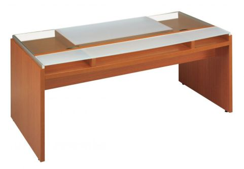 Executive Washington Glass Top Office Desk With Lower Wooden Shelf In A Walnut Finish