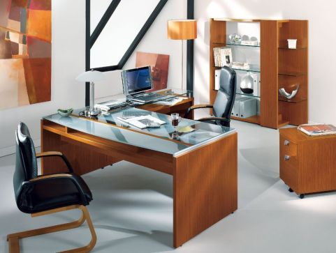 Modern Washington Glass Top Office Desk With Lower Wooden Shelf And Desk Return In A Contemporary Walnut Finish