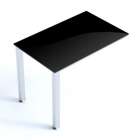 Vital Black Glass Desk Return With Thick Laminated Steel Frame