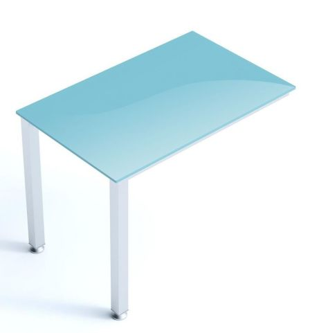 Vital Frosted Glass Desk Return With Thick Laminated Steel Frame