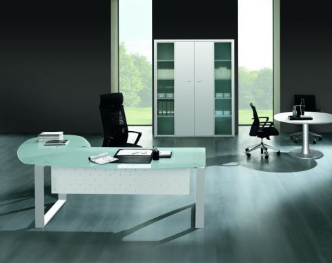 Stunning XT Glass Bow Front Office Desk And Desk Return With A Designer Loop Frame And White Meeting Table