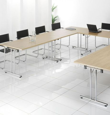 Conference Room Created Using Foldaway Meeting Tables With Black Meeting Room Chairs
