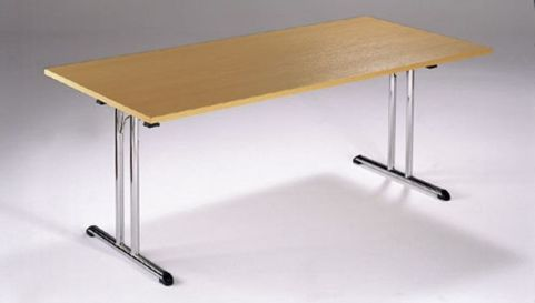Versatile Foldaway Rectangular Meeting Table In A Beech Finish With A Silver Frame