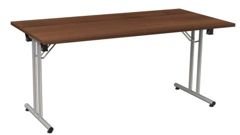 Versatile Foldaway Rectangular Meeting Table In A Walnut Finish With A Silver Frame