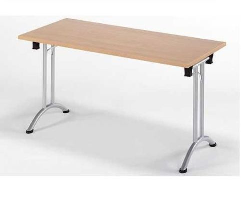 Union Rectangular Folding Office Meeting Room Table In A Beech Finish With Silver Legs