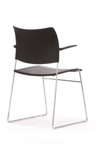Stylish Elios Conference Chair In Black Plastic With Simplistic Silver Frame - Rear View