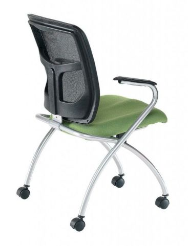 Convoy Mesh Back Conference Chair With Green Upholstered Seat