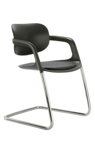 Stylish Soul Black Polypropylene Conference Chair With Silver Frame - Side View