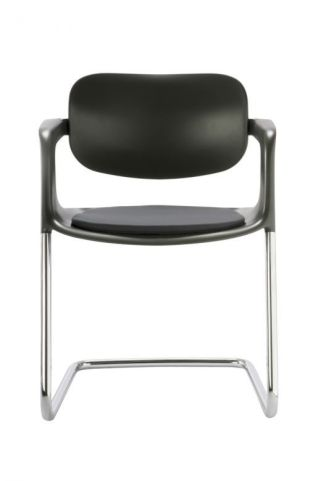 Stylish Soul Black Polypropylene Conference Chair With Silver Frame