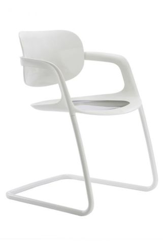 Stylish Soul White Polypropylene Conference Chair With White Frame - Side View