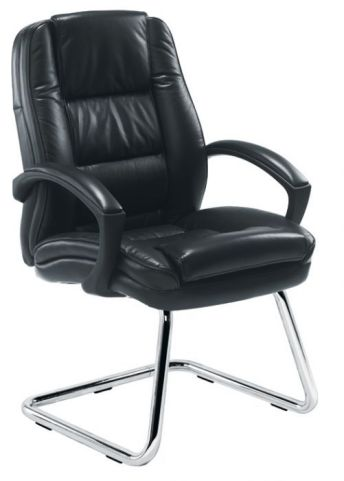 Nevada Black Leather Visitors Chair