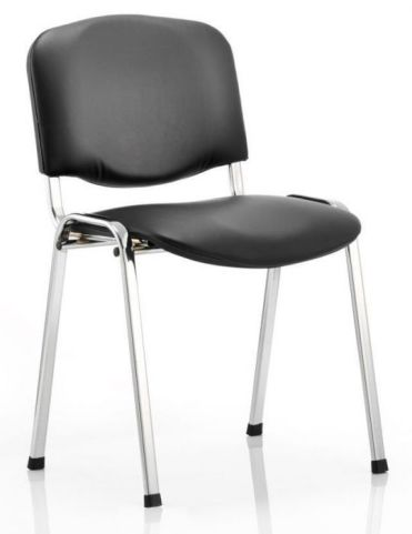 ISO Chair With A Chrome Frame And Black Vinyl Seat And Back