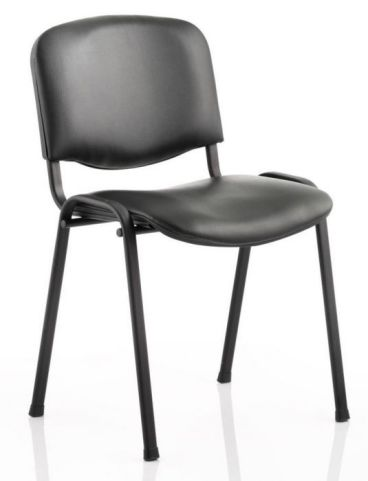 Iso Chair With A Black Vinyl Seat And Back And Black Frame