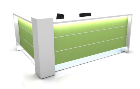 Valde L Shaped Reception Desk With High Gloss Green Fronts