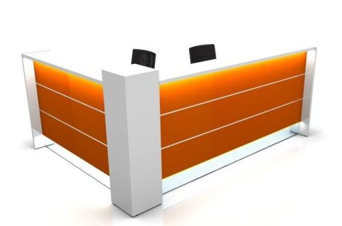 Valde L Shaped Reception Desk With Orange High Gloss Fronts