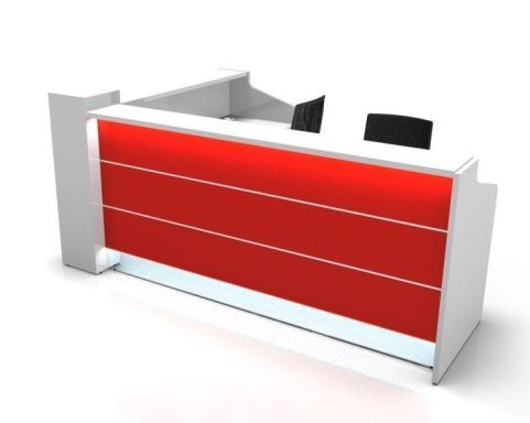 Valde L Shaped Reception Desks With Illuminted High Gloss Fronts In Red