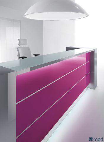 Valde Straight Reception Desk Fuschia Front Panel