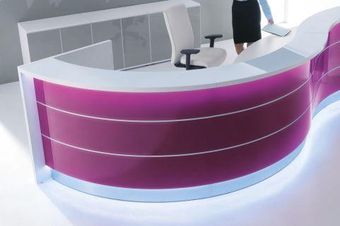 Valde Fuschia Curved Reception Desk