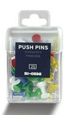 Pack Of 25 Multi Coloured Push Pins