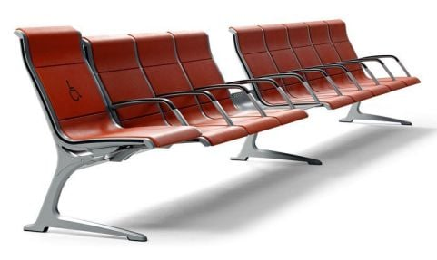 Passport Metal Concourse Seating Red Upholstery