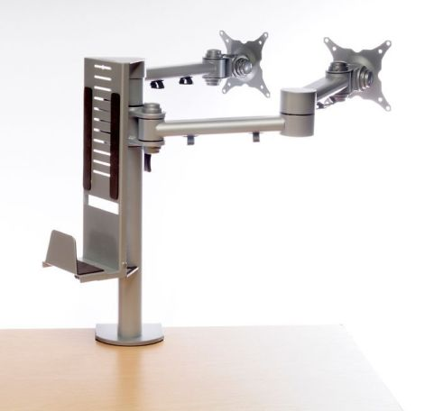 Pricebuster Monitor Arm For Two Monitors And A With Adjustable CPU Holder