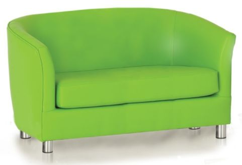 Zoron Faux Leather Sofa In Lime Green