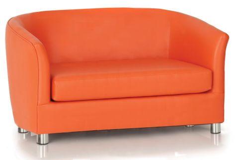 Zoron Orange Faux Leather Sofa