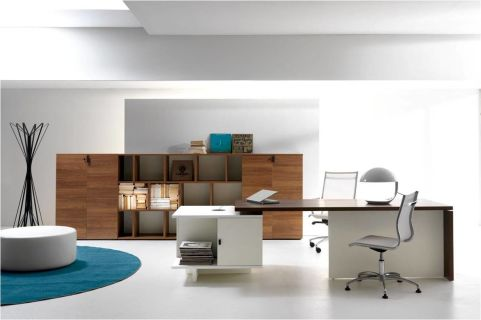 Lithos Wanut Executive Suite With Supporting Storage Cupboard